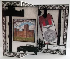 Marie Jones – Crafter's Companion  - Downton Abbey CD1 : Toppers, Paper, Sentiment, Tag - Downton Abbey Thistle Embossing Folder - Downton Abbey Dies : Motor Vehicle, Downton Abbey, Downton Abbey Icons, Candelabra - Centura Pearl Snow White Hint of Silver - Printable Light card - Matt Black card - Collall 3D and All Purpose glue - Distress Ink Black Soot - Other : Ribbon, Gems - #crafterscompanion #DowntonAbbey