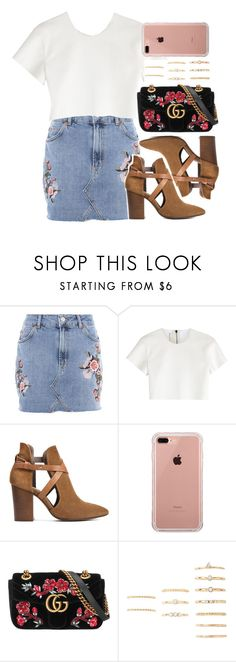 """""""Walk This Way: Summer Booties"""" by scared-of-happy ❤ liked on Polyvore featuring Topshop, Neil Barrett, H London, Belkin, Gucci and Forever 21"""