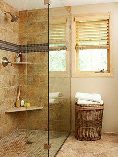 Love The Floor And The Doorless Shower Bathrooms
