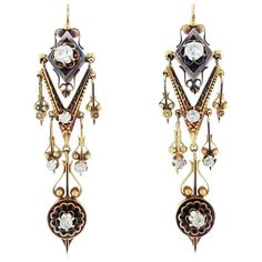 Intricate Victorian Mine Cut Diamond Gold Earrings | From a unique collection of vintage chandelier earrings at https://www.1stdibs.com/jewelry/earrings/chandelier-earrings/