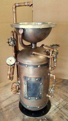 #044 - Steampunk Industrial Pedestal Sink • Industrial Style Décor