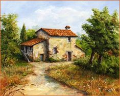 Landscape paintings acrylic farm 45 ideas for 2019 Watercolor Architecture, Watercolor Landscape, Watercolor Paintings, Fantasy Landscape, Landscape Art, Landscape Paintings, Landscape Drawings, Landscape Illustration, Tuscany Landscape