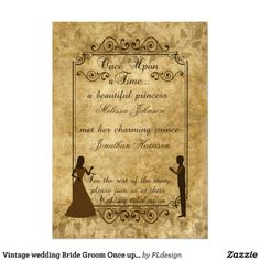 Brown #Vintage paper Parchment Bride Groom Once upon a time #Wedding #Invitations by #PLdesign #OnceUponaTime #VintageWedding #WeddingInvite