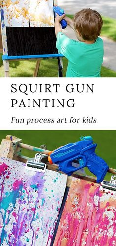 Squirt Gun Painting is a fun and creative art project for kids. Learn how to fill water guns with paint to create beautiful process art at home or camp! # activities for kids at home Thrill Your Kids with Colorful Squirt Gun Painting Outdoor Activities For Kids, Toddler Activities, Creative Activities For Kids, Summer Kid Activities, Outdoor Fun For Kids, Camping Activities, Painting For Kids, Art For Kids, Kids At Home