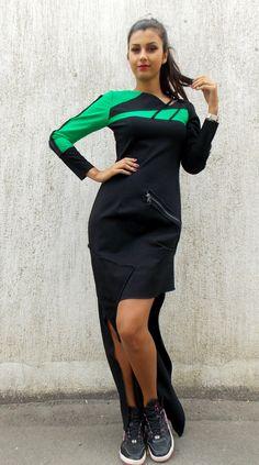 Long Black Dress / Asymmetrical Extravagant Thick Jersey Dress TDK92 / FALL WINTER 2014/15