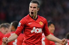 """Manchester United's Dutch striker Robin van Persie celebrates scoring his team's first goal against Aston Villa during the English Premier League football match between Manchester United and Aston Villa at Old Trafford in Manchester, northwest England, on April 22, 2013. AFP PHOTO / PAUL ELLISRESTRICTED TO EDITORIAL USE. No use with unauthorized audio, video, data, fixture lists, club/league logos or """"live"""" services. Online in-match use limited to 45 images, no video emulation. No use in…"""