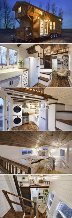 This custom tiny house has a traditional cabin style exterior with a rustic modern interior that blends white walls and cabinets with warm wood accents.