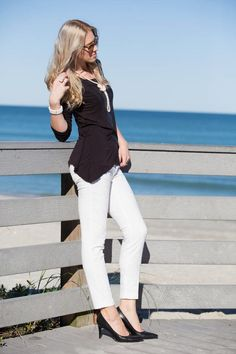 Black top, white pants, classic black pumps, pearl necklace, pearl cocktail ring, leopard frame sunglasses http://www.kslookbook.com/2014/02/black-snake.html