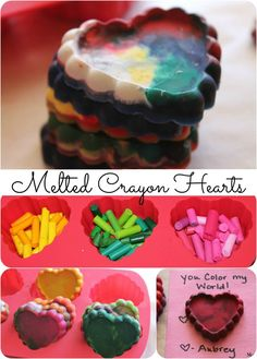 Get rid of those old crayons and create a fun and easy craft to do with your kids. These melted crayon hearts make great kids homemade Valentine's Day cards