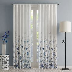 Regency Heights Regency Heights Isla Floral Sheer Rod Pocket Window Curtain Panel In Blue curtains Living Room Decor Curtains, Home Curtains, Curtains With Blinds, Window Curtains, Bedroom Decor, Sheer Valances, Window Curtain Designs, Printed Curtains, Curtain Ideas