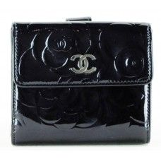 Chanel Black Patent Leather Camellia Double Wallet