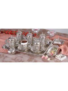 Lüx Osmanlı LALE Motifli 6'Kişilik Turk Kahve Fincanı Seti - 9 Parça - Gümüş