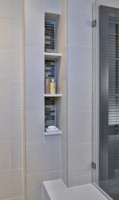 25 Beautiful Shower Niches For Your Beautiful Bath Products, Designer: Carla Aston, Photographer: Miro Dvorscak Bathroom Niche, Shower Niche, Small Bathroom, Master Bathroom, Modern Bathrooms, Neutral Bathroom, Master Shower, Bathroom Showers, Shower Door