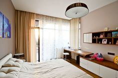 Hotel and Resort Design, House Rentals Single Chandelier And Brown Curtain As White Bedroom: Wonderful Kiev Residence as House Rentals by Yu...