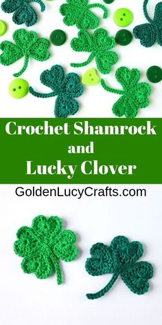 Crochet Shamrock for St. Patrick's Day and Lucky Clover Applique Crochet shamrock and lucky clover appliques made from hearts. St. Patrick's Day Diy, Crochet Leaves, Crochet Flowers, Crochet Applique Patterns Free, Crochet Appliques, Crochet Leaf Free Pattern, Crochet Thread Patterns, Hat Crochet, St Patricks Day Crochet Hat