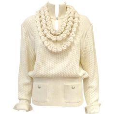 Chanel 100% Ivory Wool Pullover Sweater With Triple Strand Necklace ($1,540) ❤ liked on Polyvore featuring tops, sweaters, v neck pullover sweater, v-neck tops, chanel, v neck pullover and chanel sweater