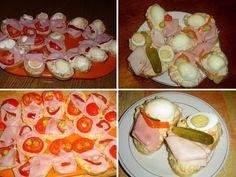 Chlebíčky - inspirace. Jak se dělaly klasické obložené chlebíčky podle socialistických norem. Kypré chlebíčky na narozeninovou oslavu i jako silvestrovská chuťovka. Nezapomenutelný šunkový chlebíček, chlebíček s vajíčkem jedna báseň a recept na chlebíček s francouzským salámem. Party Finger Foods, Starters, Pudding, Eggs, Mexican, Toast, Snacks, Retro, Breakfast