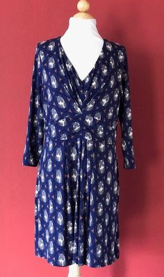 BODEN Navy Blue Multi Print Gathered Band Tunic Top Size 14R #Boden #Tunic #Casual