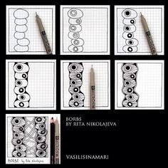 Borbs pattern photo from vasilisinamari |  I  have a video of how to draw Bords on my other Zentangle video board