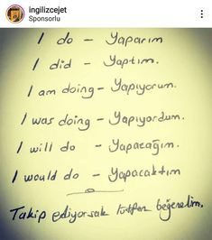 English Time, English Words, English Grammar, Learn English, Turkish Lessons, Learn Turkish Language, Common Phrases, Language Lessons, Ielts