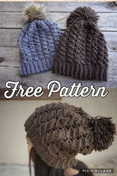 FREE PATTERN!! The Venture Slouchy Beanie This beanie is super cute and modern. Let's not forget stylish. Definitely unisex.