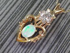 Vintage 14k Opal Necklace Vintage Opal Diamond by BelmarJewelers