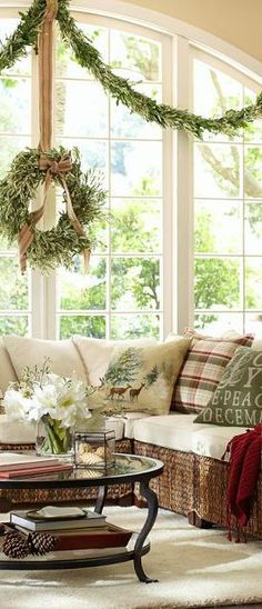 Love this window and the Christmas pillows