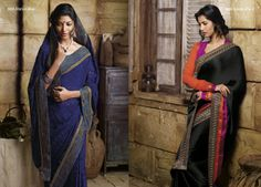 Marvelous blue color brasso saree look beautiful with the broad border patti  AND This satin chiffon material black saree gives sensational look  with its blouse piece