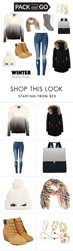 """""""Winter Essentials"""" by victoria-sobczyk ❤ liked on Polyvore featuring Topshop, K100 Karrimor, WithChic, Kate Spade, Burberry, Timberland and UGG"""