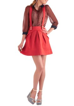 The Swingset of Things Skirt by DiKsi - Short, Vintage Inspired, Red, Solid, Buttons, Pleats want want want