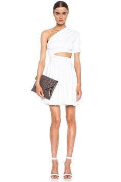 BEYOND WORDS!!  CUSHNIE ET OCHS | One Shoulder Cut Out Viscose-Blend Dress in White