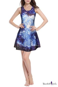 3D Blue Galaxy Print Round Neck Fit & Flare Dress