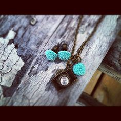 Photography Necklace and Matching Earrings Antique Bronze Camera and teal mum flowers wedding photographer gift
