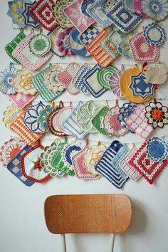 Collection of vintage crochet pot holders ~ Fine Little Day Vintage Potholders, Crochet Potholders, Crochet Motifs, Crochet Patterns, Retro Home Decor, Vintage Decor, Vintage Shop, Vintage Crafts, Vintage Stuff