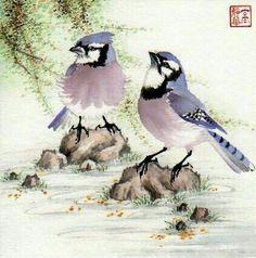 """Summer Breeze"" - Original Fine Art for Sale - © Jinghua Gao Dalia Sumi E Painting, Japan Painting, China Painting, Watercolor Paintings, Bird Paintings, Watercolours, Watercolor Bird, Watercolor Animals, Korean Art"