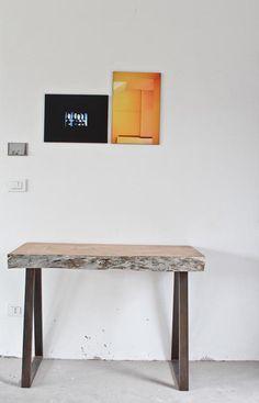 Cedar wood hand shaved board with metal legs. http://www.matitaly.com/tavole-uniche-ospiti-in-via-aosta/  pic ©Stefania Bonatelli