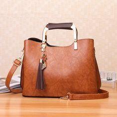 Hot-sale designer Women Oil Leather Tote Handbags Casual Front Pockets Crossbody Bags Shoulder Bags Online - NewChic Mobile