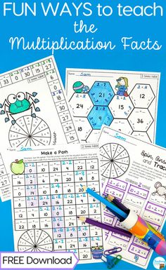 Teach the multiplication facts with engaging multiplication games.