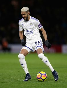 Riyad Mahrez of Leicester City in action during the Premier League match between Watford and Leicester City at Vicarage Road on December 26, 2017 in Watford, England.