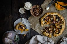 kabocha, goat cheese, & caramelized onion galette | two red bowls