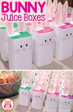 Easter bunny Use this free printable to make a bunny juice box. The juice boxes make a great Easter or spring themed snack for preschool, pre-k, toddlers, and kindergarten parties. A fun, healthy bunny themed snack for young kids. Kindergarten Party, Hoppy Easter, Easter Bunny, Easter Eggs, Easter Birthday Party, Easter Party Games, Birthday Box, Ostern Party, Deco Buffet
