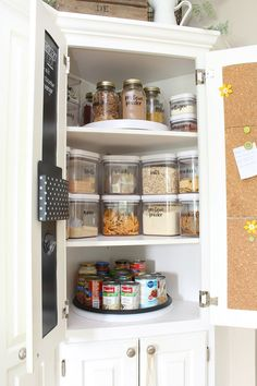 Great ideas to help organize your kitchen cupboards! / #kitchenorganization #kitchencupboards #pantry #organizationhacks #organizationideas #homeorganization Small Pantry Cabinet, Kitchen Cabinet Dimensions, Kitchen Cupboard Organization, Diy Kitchen Storage, Simple Kitchen Cabinets, Kitchen Cabinets Pictures, Kitchen Cabinet Design, Organize Kitchen Cupboards, Kitchen Ideas