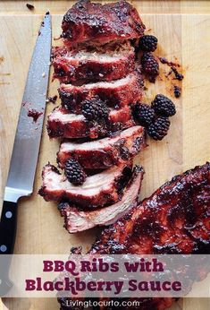 BBQ Ribs with Blackberry Sauce. A mouthwatering easy barbecue recipe with a sweet and spicy sauce. So good! LivingLocurto.com