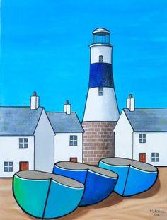 Paul Bursnall - Paintings for Sale - Bonny Colorful Paintings, Paintings For Sale, Landscape Art, Landscape Paintings, Beach Huts Art, Seaside Art, Arte Pop, Naive Art, Whimsical Art
