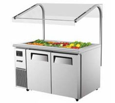"TurboA Air J Series Refrigerated Buffet Table-side mount 14.8 cu. ft. - JBT-60  J Series Refrigerated Buffet Table-side mount, two section, 14.8 cu. ft., (2) s/s swing doors w/recessed handles, s/s top, front & sides, s/s interior floor w/ AL side panels & door liner, (2) PE coated wire shelf, 5"" dia. swivel casters, front breathing, self-contained, 1/3 HP, 8.9 amps, ETL, ETL-Sanitation, NEMA 5-15P, sneeze guard is optional"