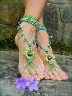 PISTACHIO BAREFOOT sandals green SANDALS crochet beaded by GPyoga
