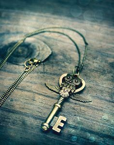 Jewelry need: my two favorite things combined into one. Now if only it were a locket. Owl Key Charm Necklace.