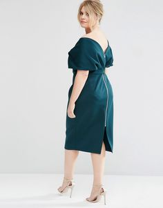Image 2 of ASOS CURVE Premium Fold Cape Midi Bodycon Dress in Scuba
