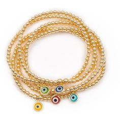 22 Jewelry - Athena Bracelet Set ($235) ❤ liked on Polyvore featuring jewelry, bracelets, evil eye jewelry, bead charms, charm bangle, beading jewelry and cocktail jewelry