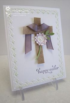 beautiful Easter card by LeeAnn Greff using SU wood sheets, perfect plum taffeta ribbon, Boho Blossoms punch, Framed Tulips embossing folder.